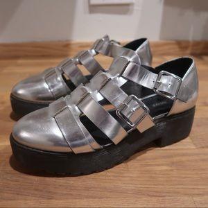 Forever 21 metallic silver platform shoes